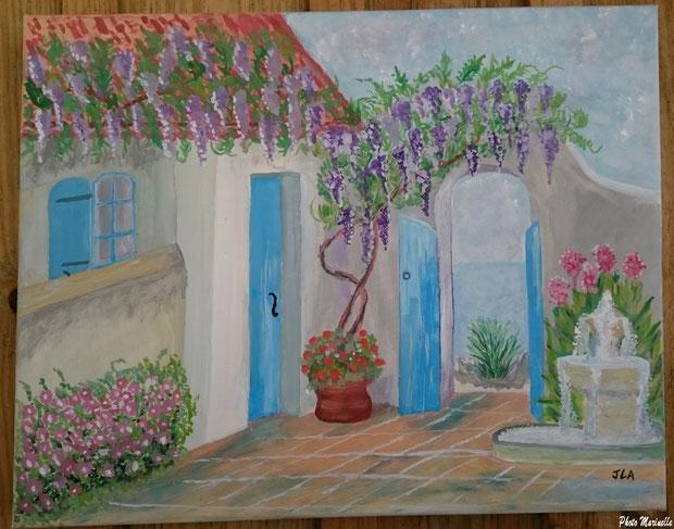 """JLA Artiste Peintre - """"Jardin aux volets ouverts"""" 033 - Peinture sur toile"""