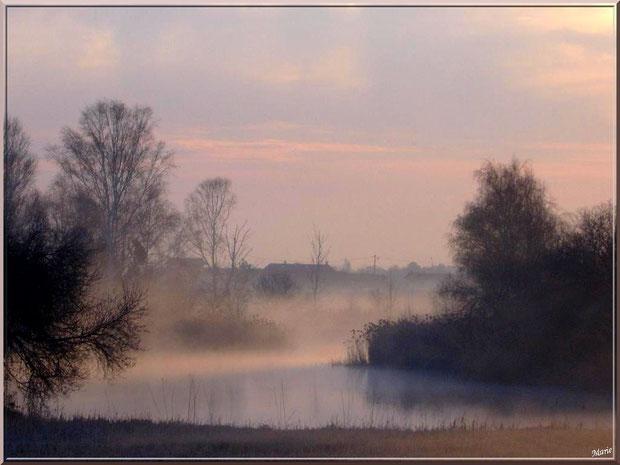 Lever du jour dans la brume en février sur les prés salés à La Teste de Buch