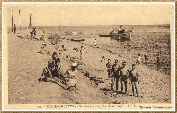 Gujan-Mestras autrefois : La Jetée du Christ, la plage et l'entrée du Port de Larros, Bassin d'Arcachon (carte postale, collection privée)