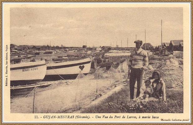 Gujan-Mestras autrefois : Couple et enfant en bordure de la darse principale du Port de Larros à marée basse, Bassin d'Arcachon (carte postale, collection privée)