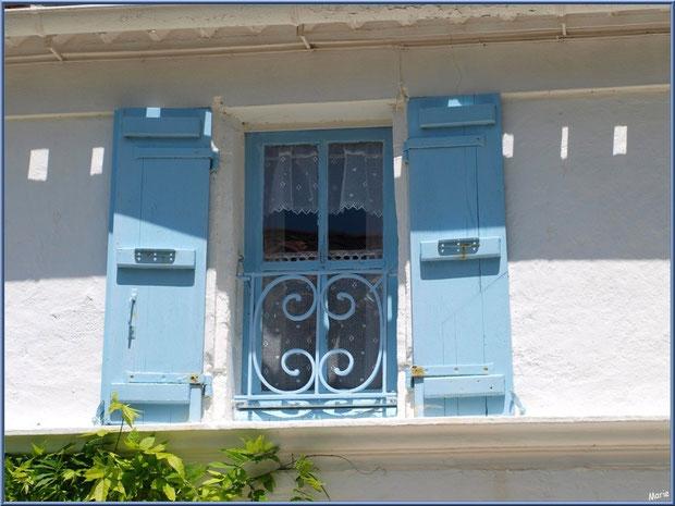 Fenêtre aux volets bleus à Talmont-sur-Gironde, Charente-Maritime