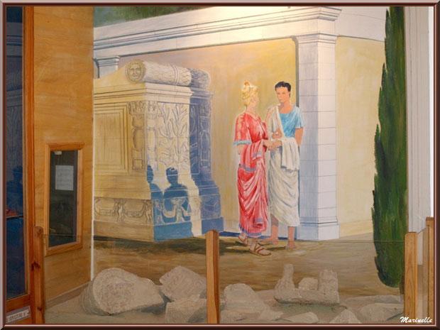Musée Marc Deydier, village de Cucuron, Lubéron (84) : vestiges et fresque murale scène de vie gallo-romaine