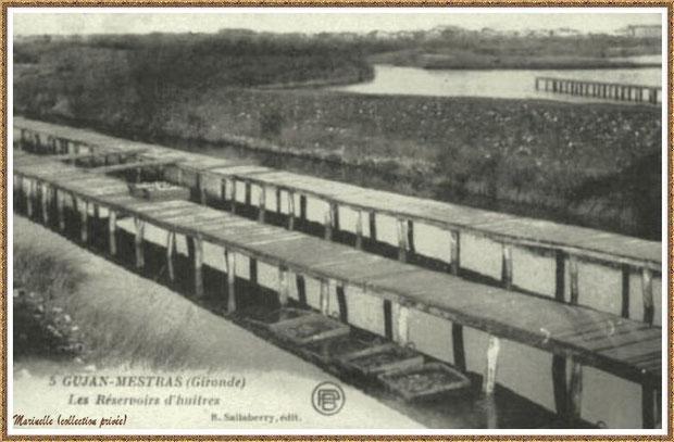 Gujan-Mestras autrefois : Réservoir à huîtres avec ses passerelles, Bassin d'Arcachon (carte postale, collection privée)