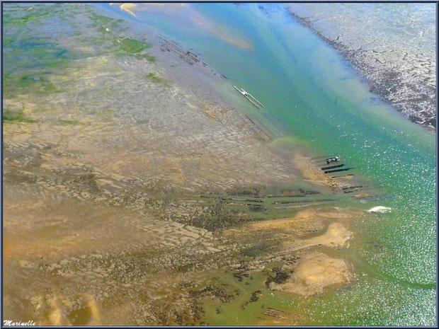 Quelques parcs à huîtres vus du ciel, Bassin d'Arcachon (33)