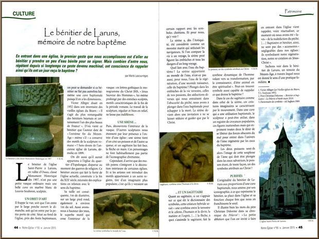 Histoire du bénitier de l'église Saint Pierre de Laruns, Vallée d'Ossau (64)