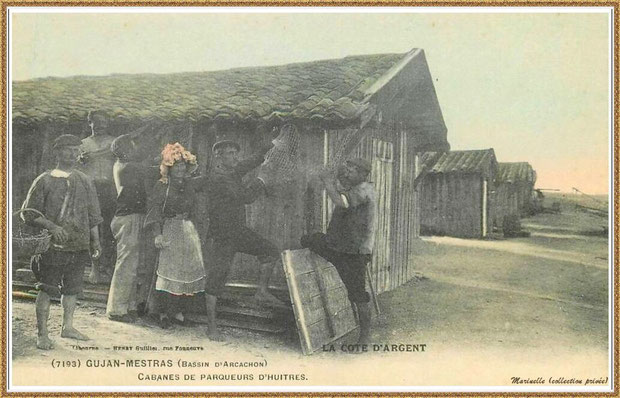 Gujan-Mestras autrefois : Cabanes de parqueurs d'huîtres, Bassin d'Arcachon (carte postale, collection privée)