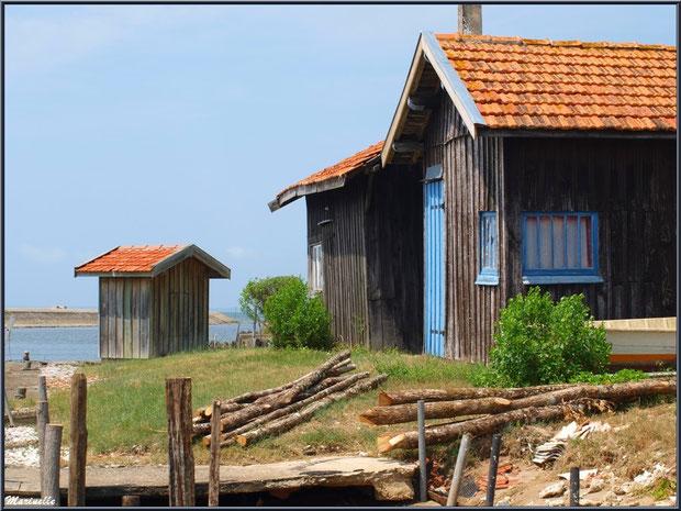 Cabanes ostréicoles en bout du port de Larros avec, en toile de fond, la Jetée du Christ à Gujan-Mestras, Bassin d'Arcachon (33)