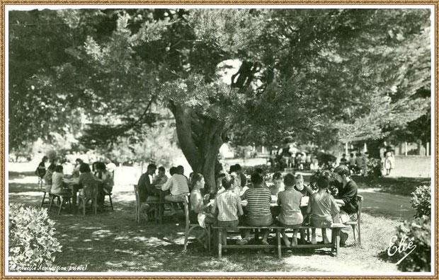 """Gujan-Mestras autrefois : La Hume, repas à l'ombre des arbres de la colonie de vacances """"Bouquet de Joie"""" Sud Aviation Toulouse, Bassin d'Arcachon (carte postale, collection privée)"""