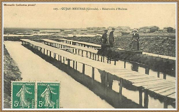Gujan-Mestras autrefois : en 1909, réservoir à huîtres et ses passerelles, Bassin d'Arcachon (carte postale, collection privée)