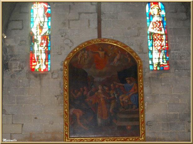 Tableau et vitraux au-dessus de l'autel de l'église Saint-Vincent, Les Baux-de-Provence, Alpilles (13)