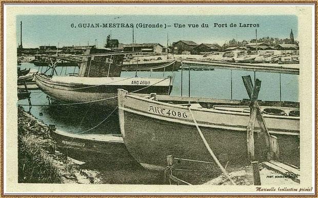 Gujan-Mestras autrefois : Vue de la darse principale du Port de Larros, Bassin d'Arcachon (carte postale, collection privée)