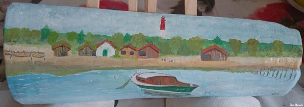 """JLA Artiste Peintre - """"Pinasse Le Cap au large du Cap Ferret"""" 045 - Peinture sur tuile ostréicole (Bassin d'Arcachon)"""