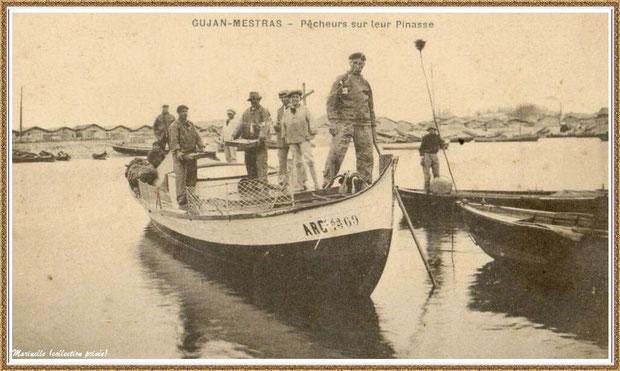Gujan-Mestras autrefois : en 1910, retour de pêcheurs sur leur pinasse, darse principale du Port de Larros, Bassin d'Arcachon (carte postale, collection privée)