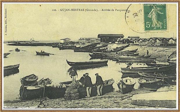 Gujan-Mestras autrefois : Arrivée des parqueurs, darse principale du Port de Larros, Bassin d'Arcachon (carte postale, collection privée)