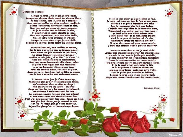 """Saint Valentin, """"L'éternelle chanson"""" poème de Rosemonde Gérard (format agrandissable en cliquant dessus)"""