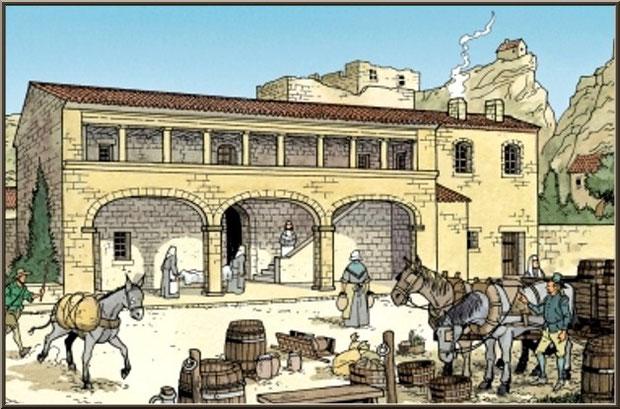 Hôpital Quiqueran au XVIème siècle, Château des Baux-de-Provence, Alpilles (13) - gravure panneau château