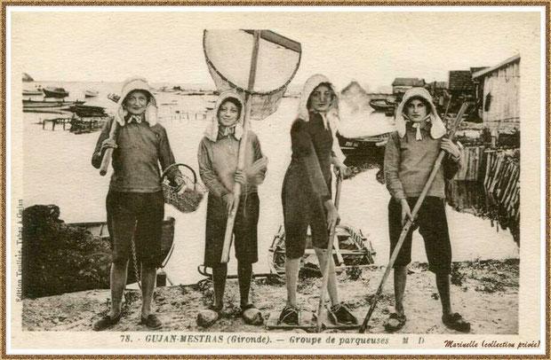 Gujan-Mestras autrefois : Parqueuses en 1941, Bassin d'Arcachon (carte postale, collection privée)