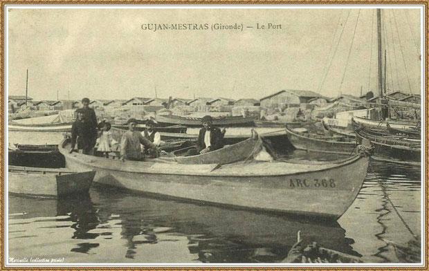 Gujan-Mestras autrefois : vers 1915, arrivée d'une pinasse dans la darse principale du Port de Larros, Bassin d'Arcachon (carte postale, collection privée)