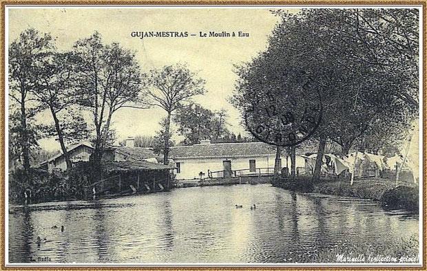 """Gujan-Mestras autrefois : en 1908, le Moulin à eau Daney et le lavoir au lieu-dit """"Bruge"""" , Bassin d'Arcachon (carte postale, collection privée)"""