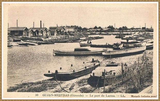 Gujan-Mestras autrefois : Pinassottes et chalands dans la darse principale du Port de Larros, Bassin d'Arcachon (carte postale, collection privée)