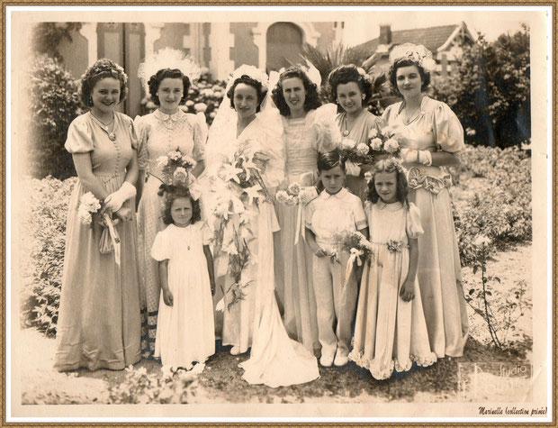 Gujan-Mestras autrefois : vers 1946, une photo de mariage avec la mariée, les enfants et les demoiselles d'honneur dont ma maman à gauche de la mariée, Bassin d'Arcachon (photo de famille, collection privée)