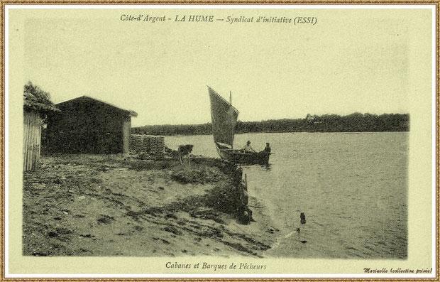 Gujan-Mestras autrefois : Pinasse à voile et cabanes de parqueurs avec tuiles ostréicoles au Port de La Hume, Bassin d'Arcachon (carte postale, collection privée)