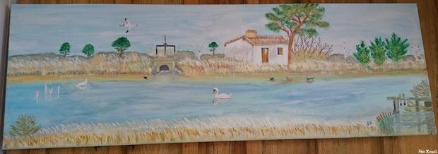"""JLA Artiste Peintre - """"Promenade sur le Sentier du Littoral, Bassin d'Arcachon"""" 034 - Peinture sur toile"""