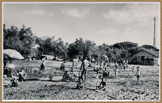 """Gujan-Mestras autrefois : la plage de La Hume et café """"Chez Berthe"""", Bassin d'Arcachon (carte postale, collection privée)"""