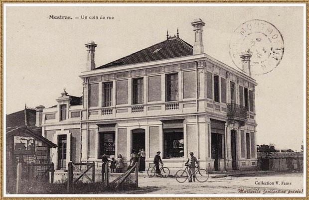 Gujan-Mestras autrefois : Angle rue Jules Barat et Edmont Daubric (1905), alimentation (Marceau, Sensey, Deltéral, Devriese), Bassin d'Arcachon (carte postale, collection privée)