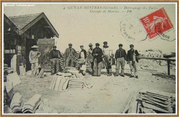 Gujan-Mestras autrefois : vers 1910, groupe d'ostréiculteurs au détrocage des tuiles, Bassin d'Arcachon (carte postale, collection privée)