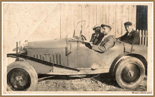 Gujan-Mestras autrefois : entre 1930-1940, des membres de ma famille en Bugatti, Bassin d'Arcachon (photo de famille, collection privée)