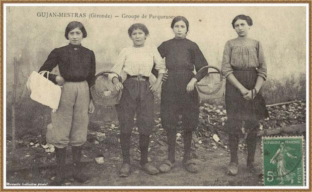 Gujan-Mestras autrefois : vers 1910, groupe de parqueuses, Bassin d'Arcachon (carte postale, collection privée)