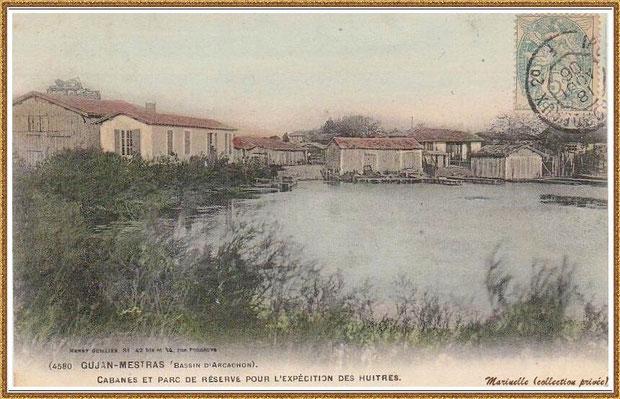 Gujan-Mestras autrefois : en 1906, cabanes et réservoir à huîtres, Bassin d'Arcachon (carte postale, collection privée)