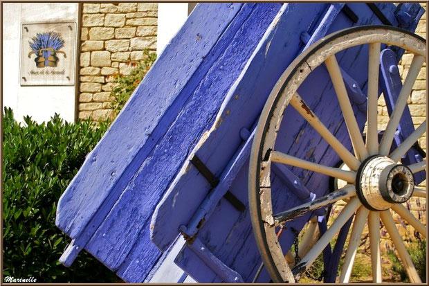 """Le """"Musée de la Lavande"""" à Coustellet (84) : vieille charette devant la façade de l'entrée"""