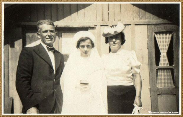 Gujan-Mestras autrefois : en 1942, Ginette Pédemounou, ma maman, en communiante (plus tard, épouse de Almeida) entourée de son papa (André Pédenounou) et de sa maman (Marie-Thérèse Pédemounou, née Lagauzère) photo de famille, collection privée