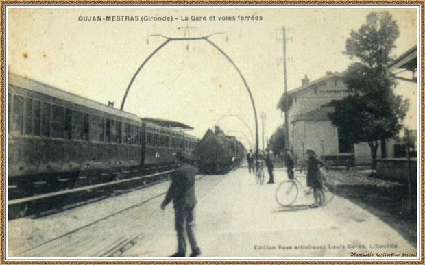 Gujan-Mestras autrefois : en 1905, quai de la gare avec train à vapeur, Bassin d'Arcachon (carte postale, collection privée)