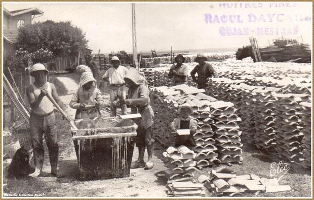 Gujan-Mestras autrefois : Huîtrerie Raoul Daycard - chaulage des tuiles, Bassin d'Arcachon (carte postale, collection privée)