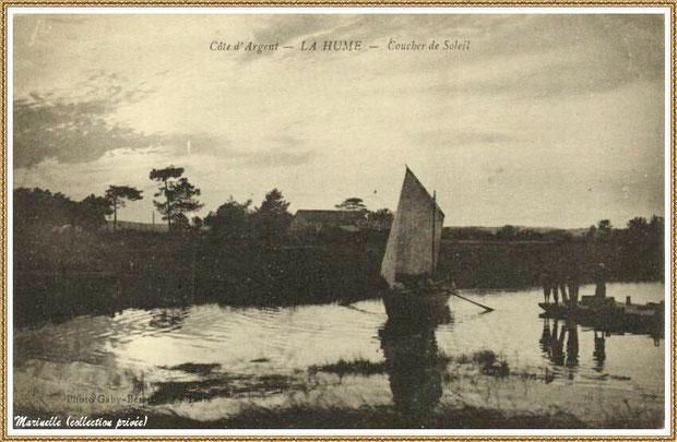 Gujan-Mestras autrefois : La Hume, pinasse à voile et coucher de soleil, Bassin d'Arcachon (carte postale, collection privée)