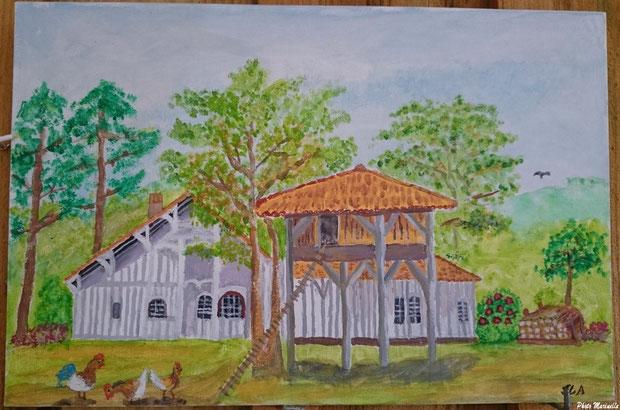 """JLA Artiste Peintre - """"Maison Landaise et son poulailler"""" 020 - Peinture sur toile"""