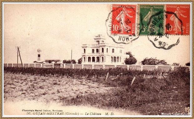 Gujan-Mestras autrefois : en 1920, le Château Mader, Bassin d'Arcachon (carte postale, collection privée)
