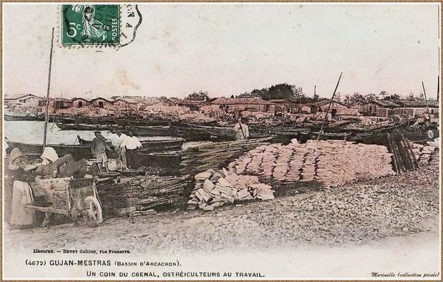 Gujan-Mestras autrefois : en 1907, ostréiculteurs au travail dans la darse principale du Port de Larros, Bassin d'Arcachon (carte postale - version colorisée, collection privée)