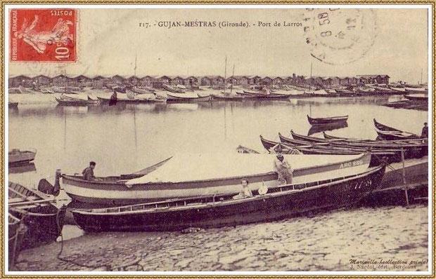 Gujan-Mestras autrefois : en 1912, pinassottes dans la darse principale du Port de Larros, Bassin d'Arcachon (carte postale, collection privée)
