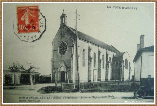 Gujan-Mestras autrefois : En 1915, la Chapelle Saint Michel, Bassin d'Arcachon (carte postale, collection privée)