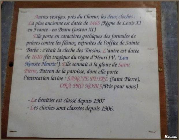 L'église Saint Pierre de Laruns, Vallée d'Ossau (64) : panneau faisant l'historique des deux cloches et du bénitier
