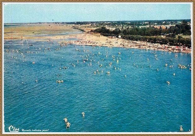 Gujan-Mestras autrefois : La Hume, plage et baigneurs (vue aérienne), Bassin d'Arcachon (carte postale, collection privée)