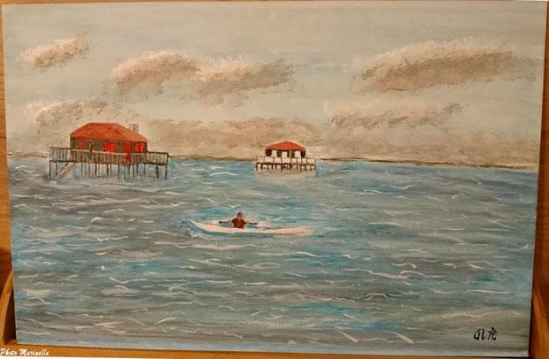 """JLA Artiste Peintre - """"Canoë devant les cabanes tchanquées de l'Ile aux Oiseaux"""", Bassin d'Arcachon 056 - Peinture sur toile"""