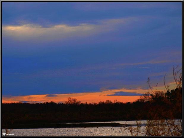 Soleil couchant au-dessus des réservoirs, Sentier du Littoral, secteur Port du Teich en longeant La Leyre, Le Teich, Bassin d'Arcachon (33)