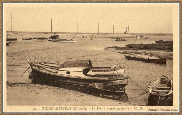 Gujan-Mestras autrefois : rencontre entre darses principale et secondaire du Port de Larros (avec la Jetée du Christ), Bassin d'Arcachon (carte postale - version NB, collection privée)