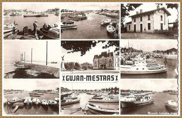 Gujan-Mestras autrefois : Carte postale multivues, Bassin d'Arcachon (carte postale, collection privée)