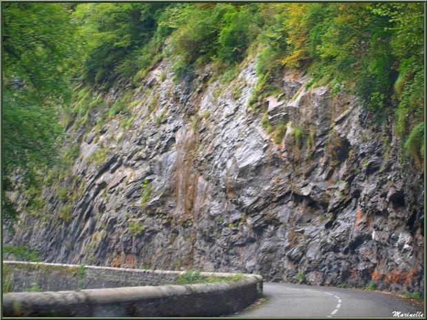 Route longeant la montagne, direction Eaux-Chaudes et Gabas, Vallée d'Ossau (64)